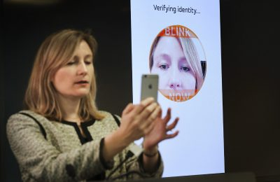 TORONTO, ON - MARCH, 23  - Catherine Murchie, senior vice president of U.S. enterprise solutions for MasterCard demonstrates the technology. MasterCard gave reporters a preview of its 'selfie' pay technology that allows users to take a picture of themselves to pay.  The technology is due to be a available to consumers in the summer.   The event was held at their Toronto headquarters near Bloor and Yonge. NOTE:  There are more photos in EMMA March 23, 2016 Richard Lautens/Toronto Star